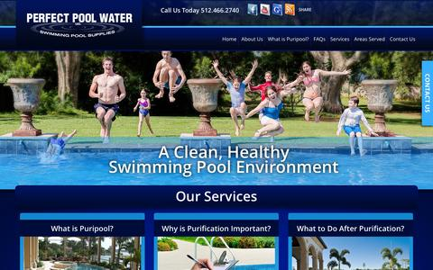 Screenshot of Home Page perfectpoolwater.com - Austin Pool Purification Company, Round Rock Puripool - captured Dec. 8, 2015