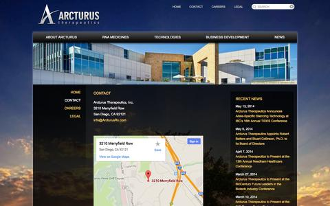 Screenshot of Contact Page arcturusrx.com - Contact | Arcturus Therapeutics - captured Sept. 13, 2014