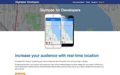 Screenshot of Developers Page glympse.com - Glympse Developers Home - captured July 4, 2016