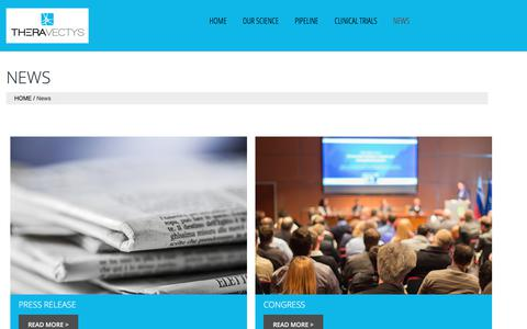 Screenshot of Press Page theravectys.com - TheraVectys News - Press Releases & Events - captured July 13, 2018