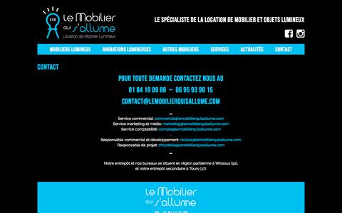 Screenshot of Contact Page lemobilierquisallume.com - Contact - Le mobilier qui s'allume LMQSA - captured July 17, 2018