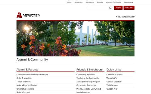 Alumni & Community - Azusa Pacific University