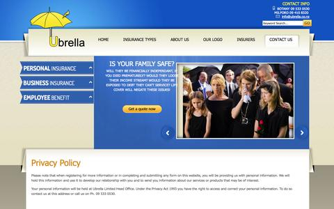 Screenshot of Privacy Page ubrella.co.nz - Privacy Policy Ubrella - captured Oct. 27, 2014