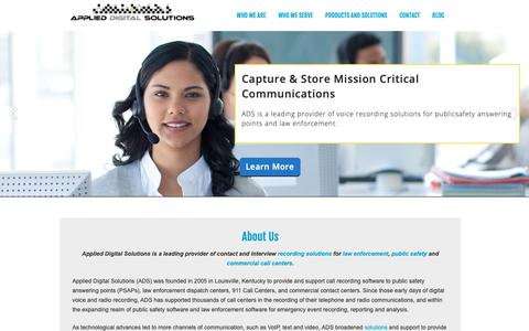 Screenshot of Home Page applied-ds.com - Applied Digital Solutions | Contact & Interview RecordingApplied Digital Solutions - captured Oct. 3, 2018
