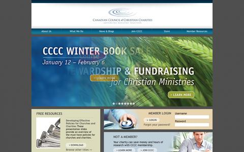 Screenshot of Home Page cccc.org - Canadian Council of Christian Charities - captured Jan. 23, 2015
