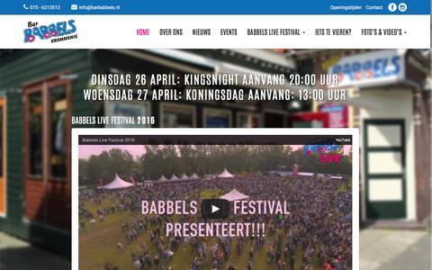 Screenshot of Home Page barbabbels.nl - Bar Babbels Krommenie - captured April 25, 2016