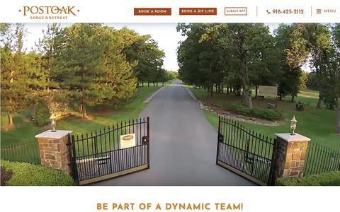 Screenshot of Jobs Page postoaklodge.com - Job Opportunities in Tulsa Oklahoma | POSTOAK Lodge & Retreat - captured Nov. 5, 2018