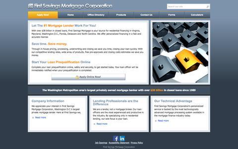 Screenshot of Home Page Menu Page firstsavingsmortgage.com - First Savings Mortgage - Your Washington Metropolitan Lender - captured Oct. 6, 2014