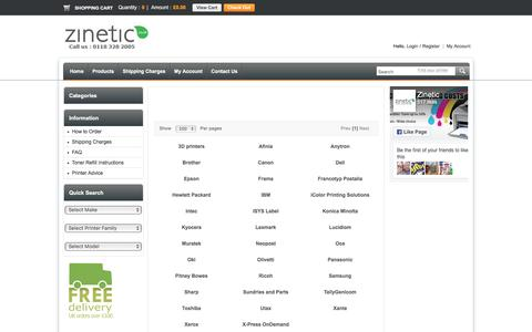 Screenshot of Products Page zinetic.co.uk - To start choose your printer manufacturer - Zinetic.co.uk - captured Nov. 7, 2016