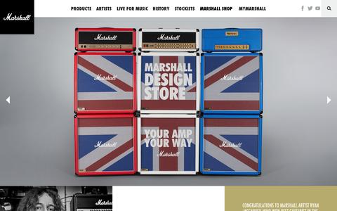 Screenshot of Home Page marshallamps.com - Marshall Amplification | Guitar Amplifiers | Live for Music - captured Nov. 18, 2016