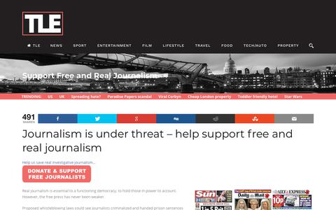 Screenshot of Support Page thelondoneconomic.com - Support Free and Real Journalism | The London Economic - captured Jan. 26, 2018