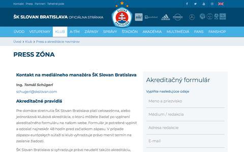 Screenshot of Press Page skslovan.com - Akreditácia :: ŠK Slovan Bratislava - oficiálna www stránka futbalového klubu - captured Sept. 22, 2018