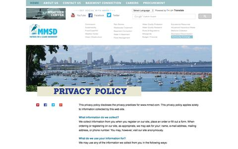 Screenshot of Privacy Page mmsd.com - Milwaukee Metropolitan Sewerage District - captured Nov. 29, 2016