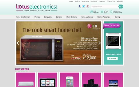 Screenshot of Home Page lotuselectronics.com - Lotus Electronics - India's Leading Online Electronics Shopping Store To Buy Electronic Products Online - captured Sept. 30, 2014