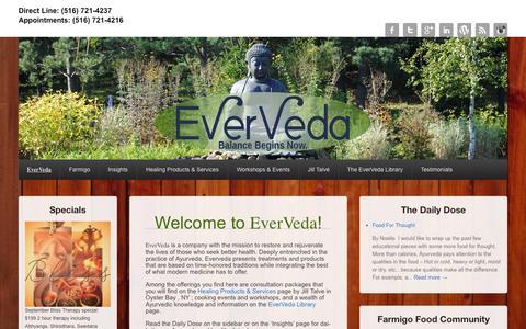 Screenshot of Home Page everveda.com - EverVeda | Balance Begins Now - captured Sept. 30, 2014
