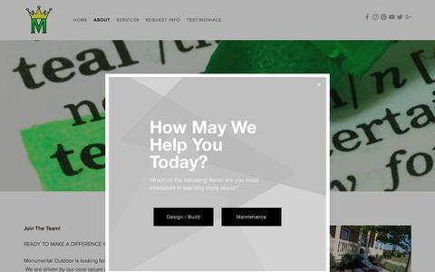 Screenshot of Jobs Page monumentaloutdoor.com - Landscape Careers — Monumental Outdoor - captured Oct. 20, 2017