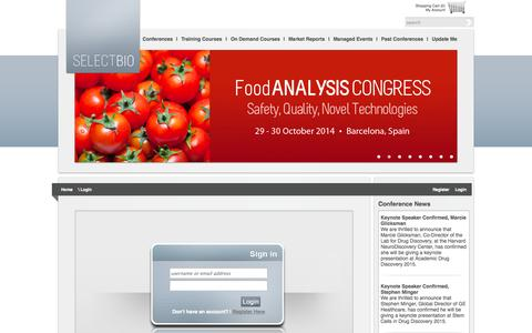 Screenshot of Login Page selectbiosciences.com - Sign into Select Biosciences - captured Oct. 29, 2014