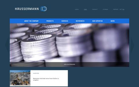 Screenshot of Jobs Page haussermann.com - JOBS - Häussermann EN - captured Feb. 2, 2016