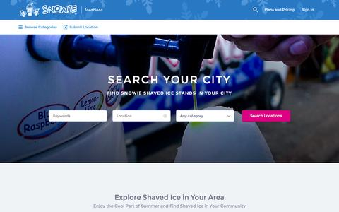 Screenshot of Locations Page snowie.com - Snowie Shaved Ice Vendor Locations - captured Jan. 24, 2016