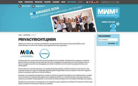 Screenshot of Privacy Page mwm2.nl - MWM2 - Privacy richtlijnen - captured Sept. 24, 2014