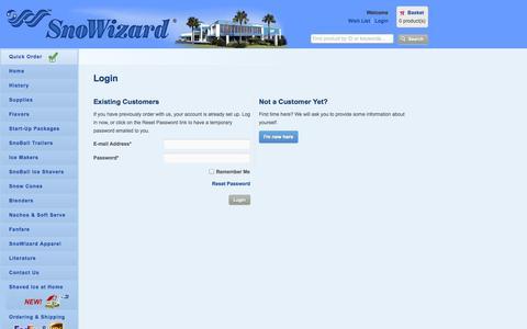 Screenshot of Login Page snowizard.com - SnoWizard, Inc - captured Oct. 26, 2014