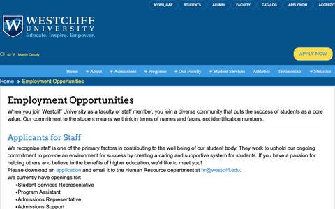 Screenshot of Jobs Page westcliff.edu - Employment Opportunities - Westcliff University - captured Nov. 18, 2018