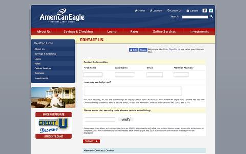 Screenshot of Contact Page americaneagle.org - American Eagle Financial Credit Union - Contact Us - captured Nov. 20, 2016