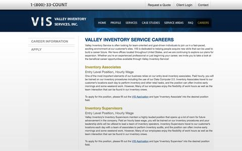 Screenshot of Jobs Page valleycount.com - Careers with Valley Inventory Service - captured Dec. 10, 2016