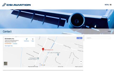 Screenshot of Contact Page csiaviation.com - Contact - captured July 2, 2018