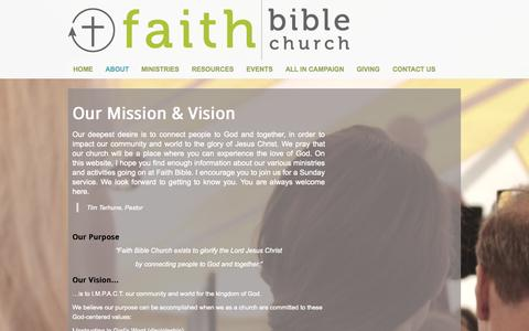 Screenshot of About Page fbclivonia.com - About Faith Bible Church - Livonia, MI - captured Oct. 6, 2014