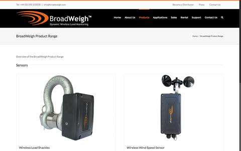 Screenshot of Products Page broadweigh.com - BroadWeigh Product Range - Broadweigh - captured July 30, 2016