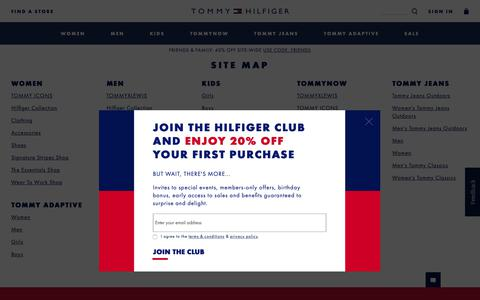 Screenshot of Site Map Page tommy.com - Site Map for Tommy Hilfiger - captured Oct. 18, 2018