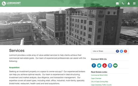 Screenshot of Services Page lorimont.com - Services - Lorimont Commercial Real Estate - captured Sept. 30, 2018