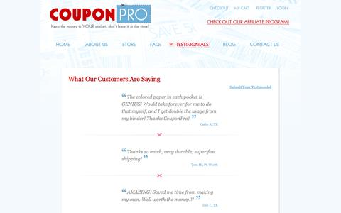 Screenshot of Testimonials Page thecouponpro.com - Coupon Binder Reviews | CouponPro - captured Oct. 3, 2014