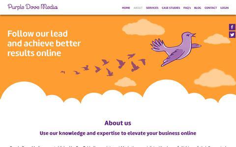 Screenshot of About Page purpledovemedia.com - About – Purple Dove Media - captured Dec. 8, 2018