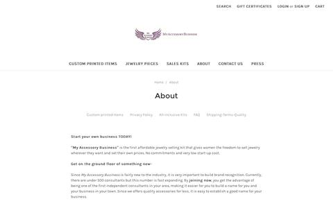 Screenshot of About Page myaccessorybusiness.com - About - captured Dec. 6, 2016