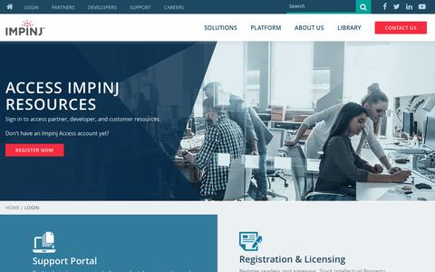 Screenshot of Login Page impinj.com - Login to Impinj Partner, Customer & Developer Resources - captured May 2, 2017