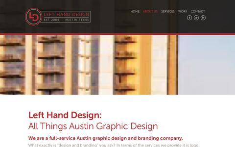 Screenshot of About Page lefthd.com - About Us | Left Hand Design        Left Hand Design - captured Jan. 22, 2016