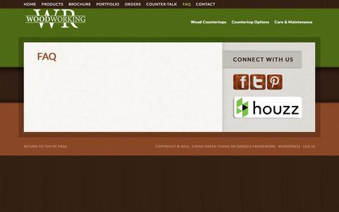 Screenshot of FAQ Page wrwoodworking.com - FAQ - captured Jan. 11, 2016