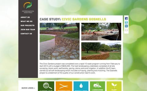 Screenshot of Case Studies Page environmentalindustries.com.au - Civic Gardens Gosnells - Environmental Industries - captured Oct. 2, 2014