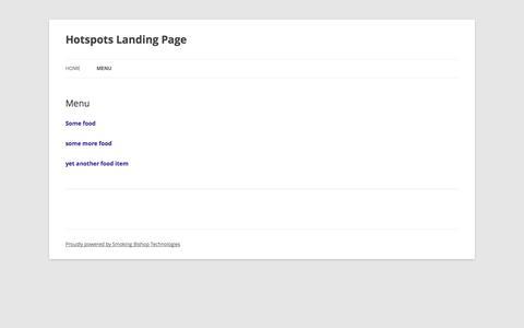 Screenshot of Menu Page smokingbishop.net - Menu | Hotspots Landing Page - captured Oct. 5, 2014