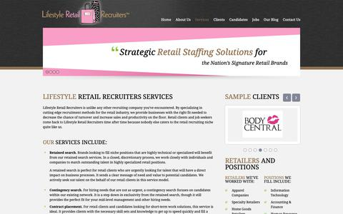 Screenshot of Services Page lsretailrecruiters.com - Lifestyle Retail Recruiters | Recruiting and Placement Services - captured Sept. 28, 2018