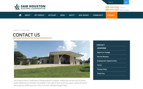 Screenshot of Contact Page samhouston.net - Contact Us | Sam Houston Electric - captured Oct. 2, 2018