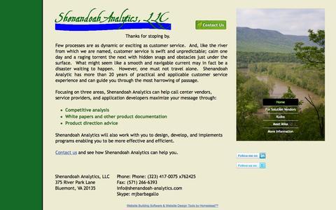 Screenshot of Home Page shenandoah-analytics.com - Home - captured Oct. 9, 2014