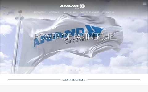 Screenshot of Home Page anandgroupindia.com - ANAND Group: Automotive Components Manufacturer India | Best Automobile Company - captured Nov. 6, 2018