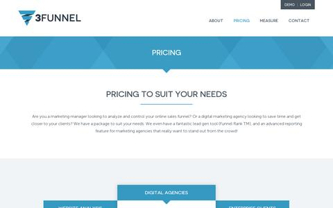 Screenshot of Pricing Page 3funnel.com - Best Price Conversion Rate Optimisation Software, Funnel Analysis Tool - captured July 18, 2014