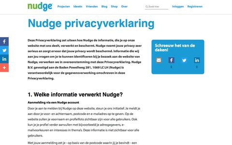 Screenshot of Privacy Page nudge.nl - Privacyverklaring - captured Oct. 15, 2016