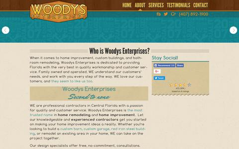 Screenshot of About Page woodysenterprises.com - About Woodys Enterprises | General Contractors | Home Remodeling - captured Oct. 22, 2017