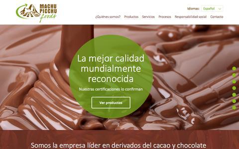 Screenshot of Home Page mpf.com.pe - Productos derivados del cacao - venta de chocolates - Machu Picchu Foods - captured Sept. 11, 2015