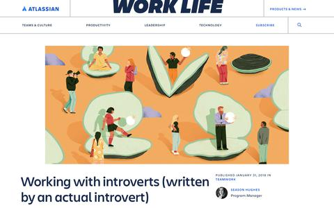 Screenshot of Jobs Page atlassian.com - Working with introverts (written by an actual introvert) – Atlassian Blog - captured May 30, 2019